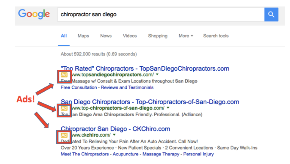 Google search results chiropractor