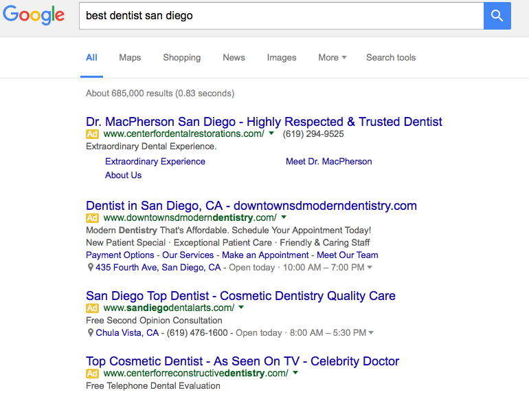 Search result dentist san diego